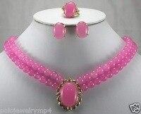 Belle Bella Meraviglioso parola Rosa gemma Anello Orecchini Collana Pendente set AAA gemma gioielli in argento delle donne