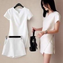 Two Piece Set Women Fashion Solid Color Side Split Dress + Pockets Shorts Casual 2 Female Black White Slim Sets