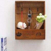 2017 Newest Wooden Boxes Cargo Keys Organizer Storage Box Simple Small Phone Hanging Case Shelf Rack