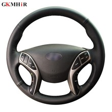 Gkmher – housse de volant de voiture en cuir véritable souple, cousu à la main, noir, pour Hyundai Elantra 2011 – 2016 Avante i30 2012 – 2016