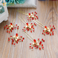 Women red Crystal rhinestone hair sticks wedding bridal u sharp hair pins handmade hair accessories Gifts pearl jewelry chenxiao