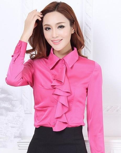 2e24044f3cef88 Red Black White Pink Women Fashion Office Blouse Smooth Satin Blouse Women  Work Wear Long Sleeve Ruffles Formal Blouse OL Shirt