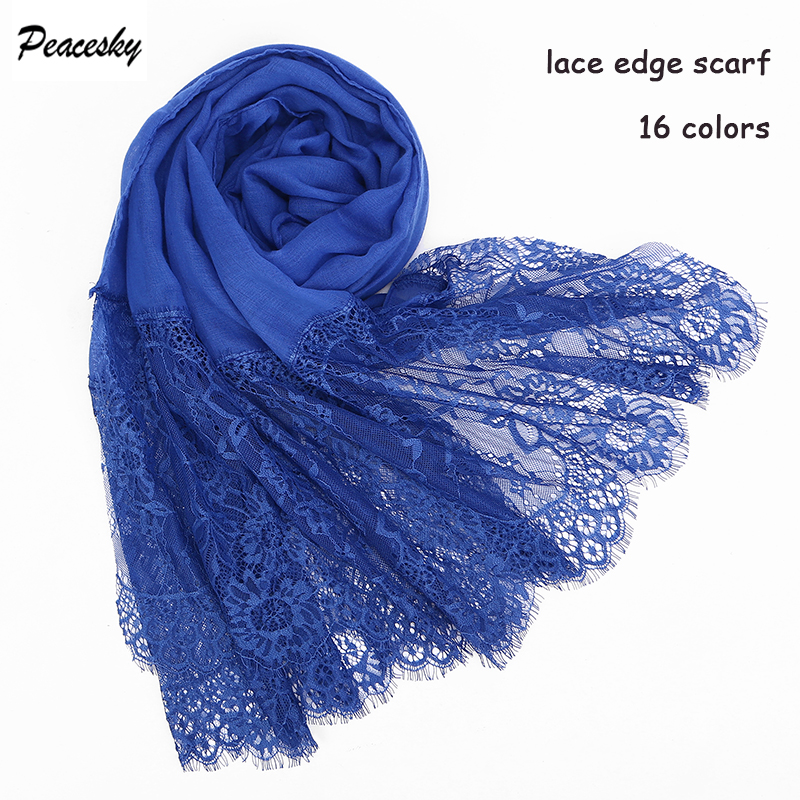 1 pc Popular lace edges   scarf   hijab woman plain maxi shawl   wrap   flower white lace foulard soft cotton Muslim hijabs scarfs