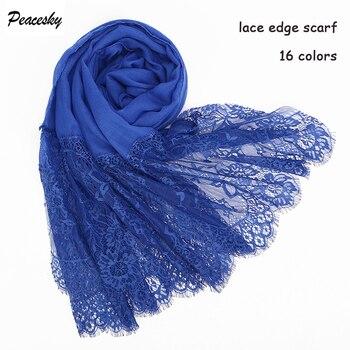 1 pc Popular lace edges scarf hijab woman plain maxi shawl wrap flower white foulard soft cotton Muslim hijabs scarfs
