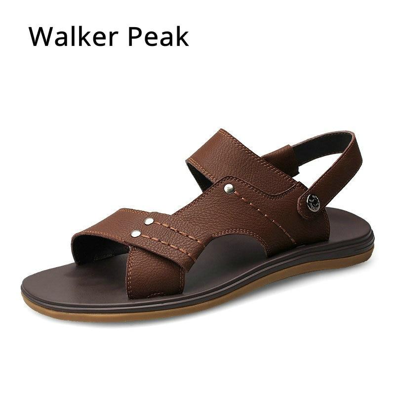 Walker Peak Genuine Leather Sandals Men Summer Shoes Design Men Sandals Fashion Rubber Walking Beach Sandals Flat Men Slippers
