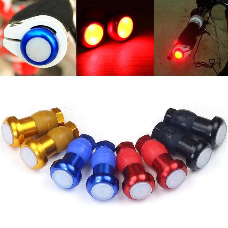 1 Pair LED Bicycle Bike Light Handlebar End Caps Handlebars Plugs Blinker Lights Warning Taillights YA88