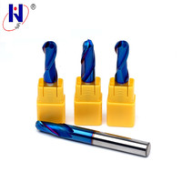 HRC60 Blue NaCo Coated R6*24*D12*75 Solid carbide Ball nose end mill 2 flute end mills with straight shank milling cutter