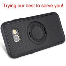 REDTREE Luxury Soft Cases for Samsung Galaxy A7 2017 Magnetic Ring Carbon Fiber Smartphone Case with Holder for A7 2018