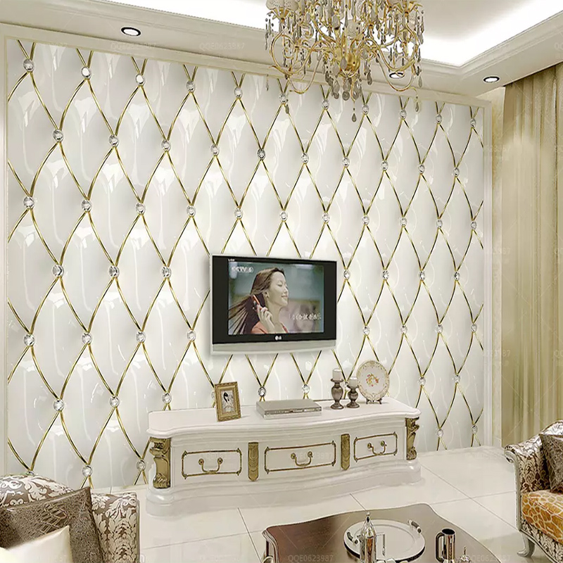 Custom 3D Mural Modern Luxury Gold Crystal Rhombic Stitching Wallpaper Living Room TV Background Wall Home Decoration Wall Cloth