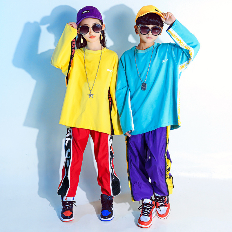 Children's Street Dance Top or Pant Children's Autumn Long Sleeve Hip Hop Dance Show Jazz Dance Clothing Dj Costume
