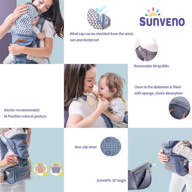SUNVENO Ergonomic Baby Carrier Infant Baby Hipseat Waist Carrier Front Facing Ergonomic Kangaroo Sling for Baby Travel 0-36M 3