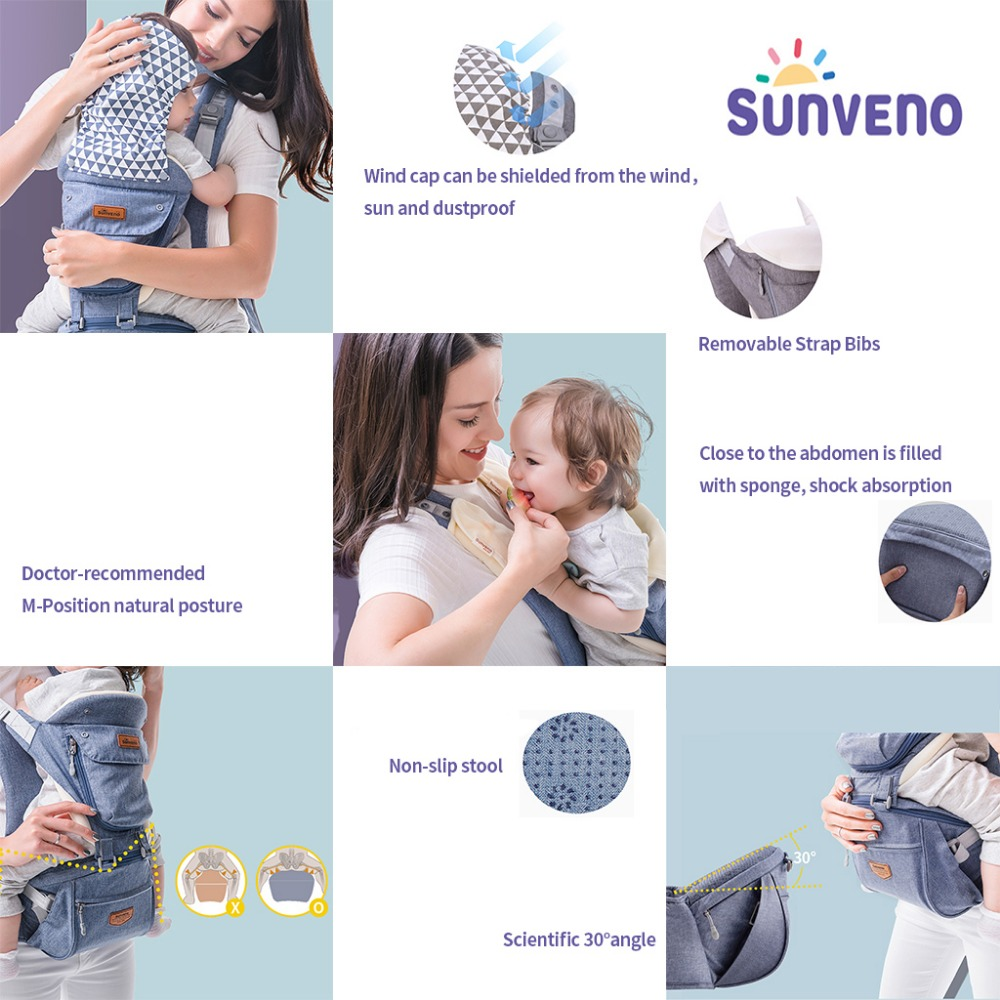 SUNVENO porte-bébé ergonomique bébé Hipseat porte-bébé face avant ergonomique kangourou attache kangourou pour bébé élingue pour bébé voyage 0-36 M - 4