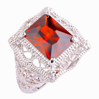 Hot Sales Fashion Wedding Jewelry Emerald Cut Red Garnet 925 Silver Ring Size 6 7 8 9 10 11 Wholesale Women Men Party Gift Rings