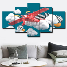Laeacco Canvas Painting Calligraphy 5 Panel Cartoon Wall Art Aircraft Cloud Posters and Prints Living Room Bedroom Decoration