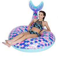 Pool Float Air Inflatable Fish tail Circle Mattress Swimming Float Inflatable Pool Ring Toys for Swimming ring Summer Fun Toy