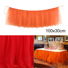 OUNEED 1PC Table Skirt Cover Birthday Wedding Festive Party Decor Table Cloth Tutu Pink Tulle Table Skirts For Wedding Decor(China)