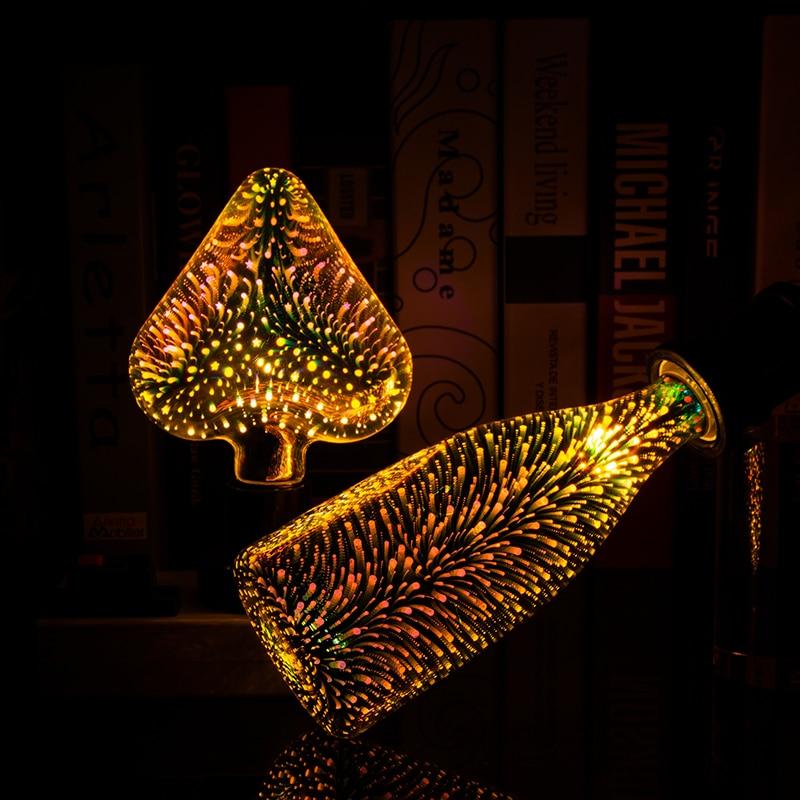 Fairy Fireworks 3D Decoration Bulb AC110V 220V ST64 G95 G80 G125 A60 Bottle Heart E27 Holiday Christmas Vintage Decoration LampFairy Fireworks 3D Decoration Bulb AC110V 220V ST64 G95 G80 G125 A60 Bottle Heart E27 Holiday Christmas Vintage Decoration Lamp