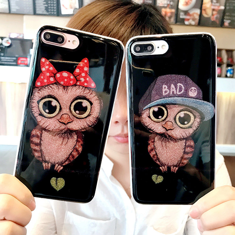 Bling Shining Cute Owl Glitter Phone Cover For <font><b>iPhone</b></font> 8 <font><b>8Plus</b></font> 7 7 Plus 6 6s Plus Silicone Cartoon Phone <font><b>Cases</b></font> Coque
