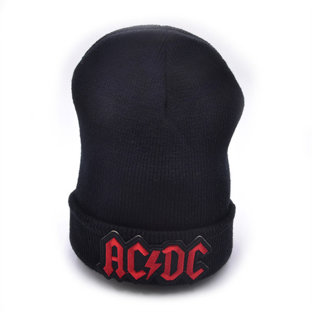 AC DC logo Wool Beanies 6 colors Knit Men s Winter Hats For Men Women Beanie 8304c149bc53