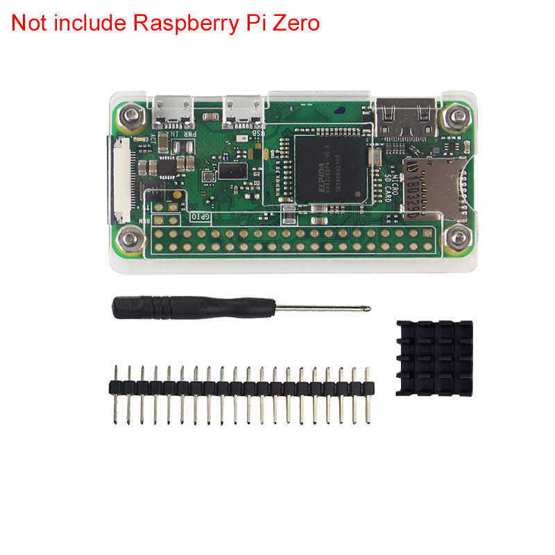 4 in 1 Raspberry Pi Zero W Case Acrylic Cover Shell + Aluminum Heat Sink +GPIO 40 Pin Connector + Screwdriver for RPI Zero Pi0