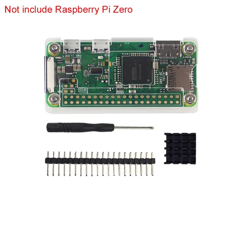 4 In 1 Raspberry Pi Zero W Case Acrylic Cover Shell + Aluminum Heat Sink +GPIO 40 Pin Connector + Screwdriver For RPI Zero Pi0