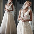 2016 New A Line Wedding Dresses With V Neck  Sheer Neckline Handmade Flowers Bridal Gown  Floor Length Custom Made