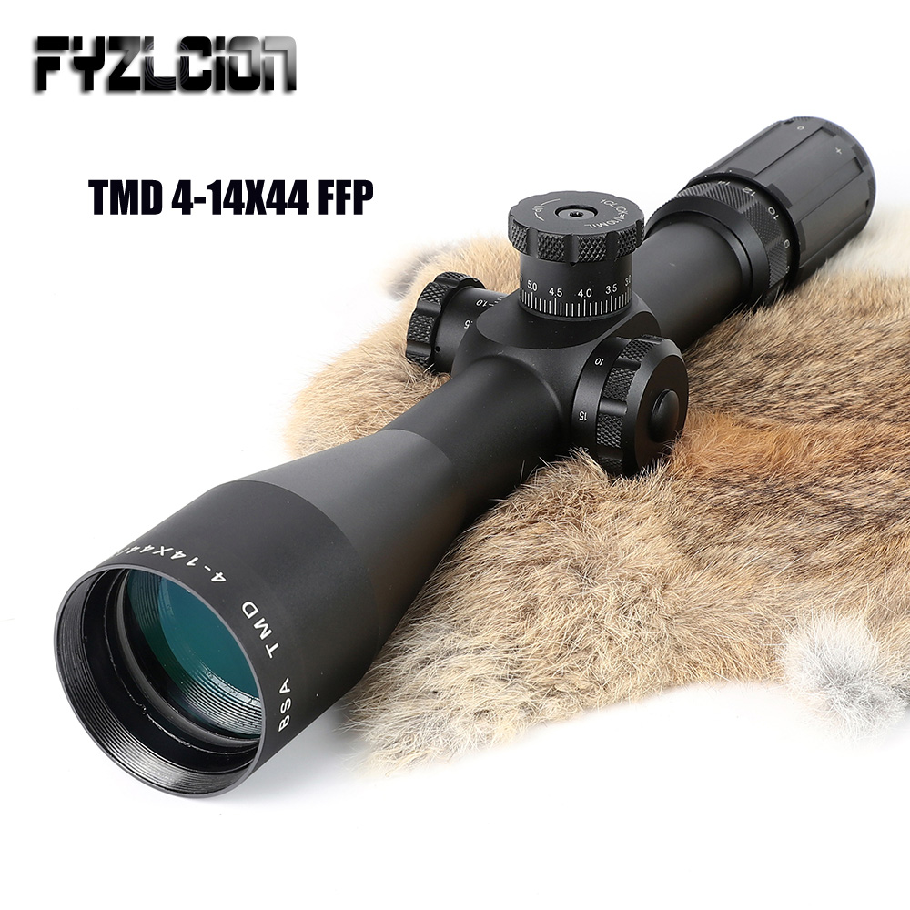 TMD 4-14X44 FFP Hunting Riflescope First Focal Plane Glass Mil Dot Reticle Tactical Optics Sight Side Parallax Rifle Scope joufou 4 16x40aol tactical rifle scope optical sights full size mil dot rgb llluminate wire reticle hunting riflescope for rifle