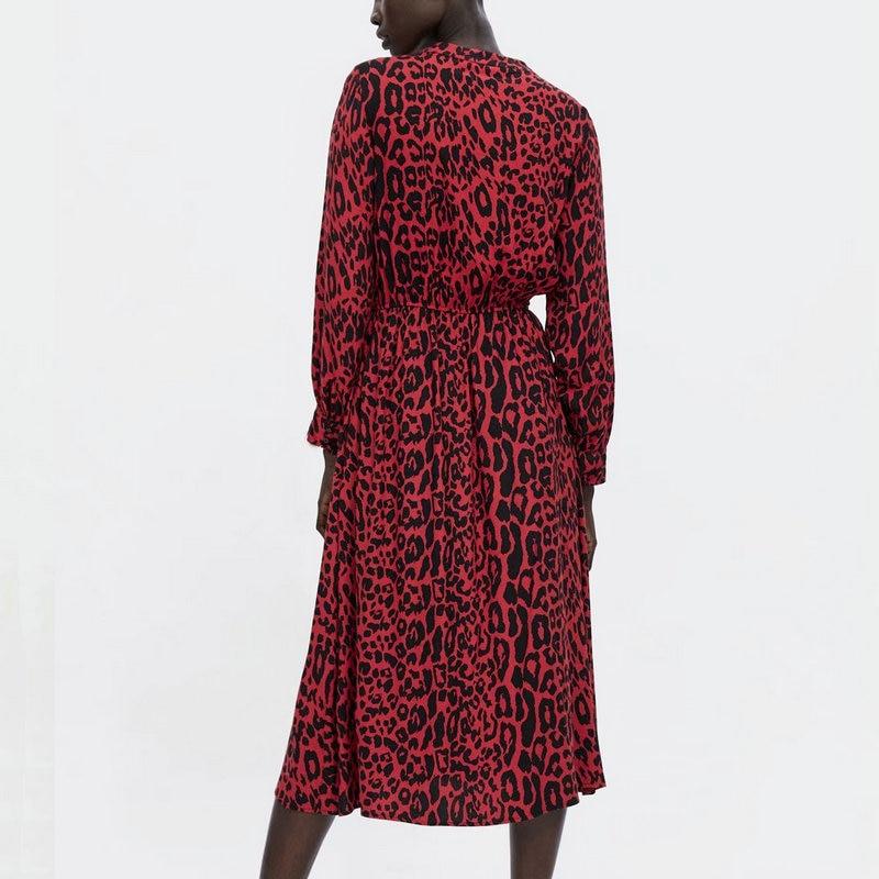 Femmes printemps noeud papillon imprimé léopard robe plissée motif Animal rouge taille élastique manches longues Chic Midi dames robes Vestidos - 2