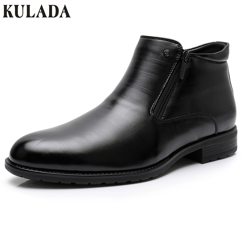 KULADA Business Boots Mens Winter Ankle Boots Men Leather Double Zipper Side Thick Artificial Fur Boots Men Winter Dress Shoes