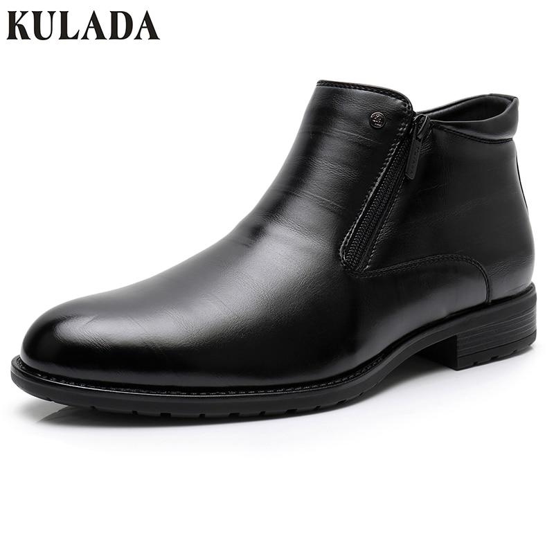 KULADA ботинки в деловом стиле Мужские Зимние ботильоны мужские кожаные  двойная молния сбоку толстый искусственный мех. 2 392,73 руб. eadc83aa812