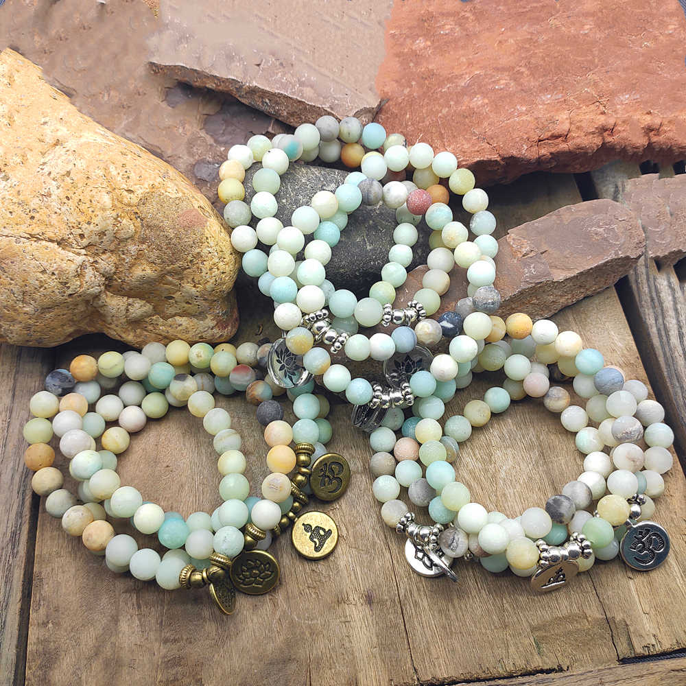 8mm Matte Frosted Amazonite beads with Lotus OM Buddha Charm Yoga Bracelet dropshipping