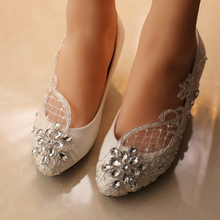 free shipping white wedding shoes office shoes bridesmaid/bridal shoes rhinestone lace shoes high heels women pumps size 41-42