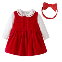 New 2017 Autumn Baby Girls Clothes Sets Newborn Baby 3 Piece Set Red Corduroy Dress Long