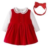 New 2017 Autumn Baby Girls Clothes Sets Newborn Baby 3 Piece Set Red Corduroy Dress Long
