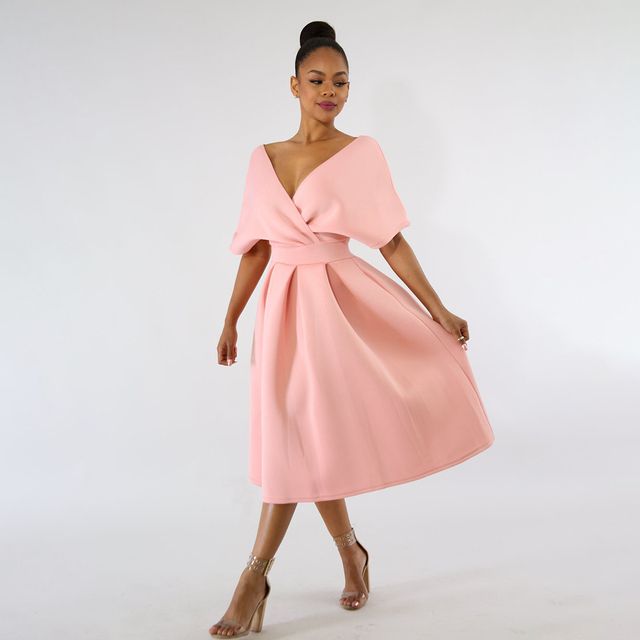 3fa2f6cfdb6a Women Backless Midi Dress Sexy V-Neck Cloak Sleeve Twist Plain Swing Dress  Summer Fashion Pink Tunic Elegant Party A-line Dress