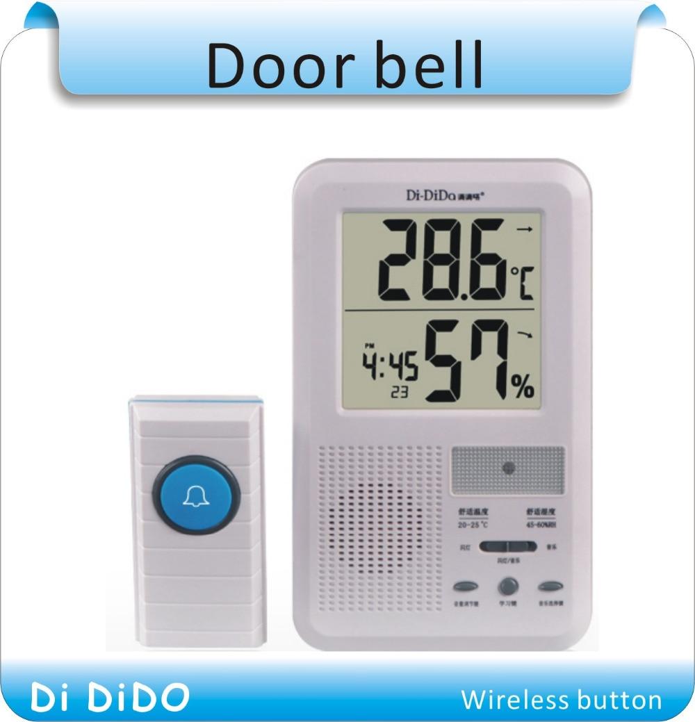 Free shipping Multifunctional LCD Calendar Panic Alarm Clock Wireless Door Bell Transmitter Receiver Door Chime Door Bell ks v2 welcom chime bell sensor