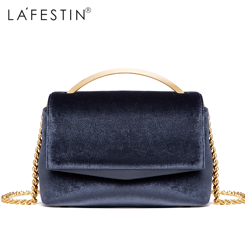 LAFESTIN 2017 Fashion Designer Luxury Women Handbag Velvet Bag Totes Bags Shoulder Brands Women Bag bolsa Female lafestin luxury shoulder women handbag genuine leather bag 2017 fashion designer totes bags brands women bag bolsa female