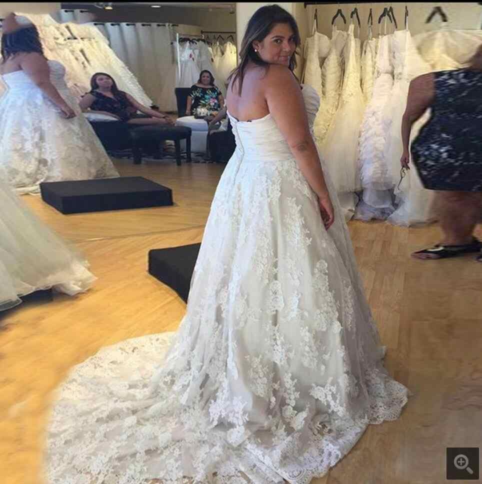2016 אפליקציות מדהימה כדור שמלת תחרה נסיכה נפוחה החדש סטרפלס שמלת חתונה רשמית שמלות כלה חמה למכירה נדל תמונת שמלה