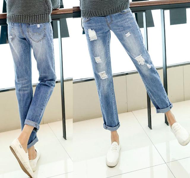 Calças de Brim de maternidade Moda Plus Size Buraco Denim Calças de Algodão Mulheres Grávidas Roupas Gravidez roupas Calças de Cintura Alta