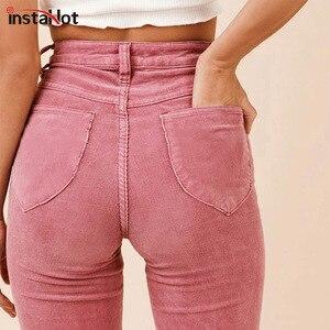 Image 1 - InstaHotสูงเอวFlare Boot Cutกางเกงผู้หญิงฤดูใบไม้ร่วงฤดูหนาวกระเป๋าTexturedสบายๆธรรมดาเสื้อผ้าหญิง2018