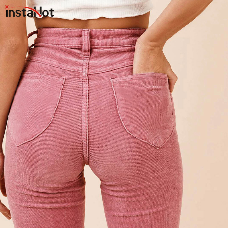 InstaHot High Waist Flare Boot Cut Pants Women Autumn Winter Pockets Textured Casual Sweatpants Plain Solid Clothing Female 2018
