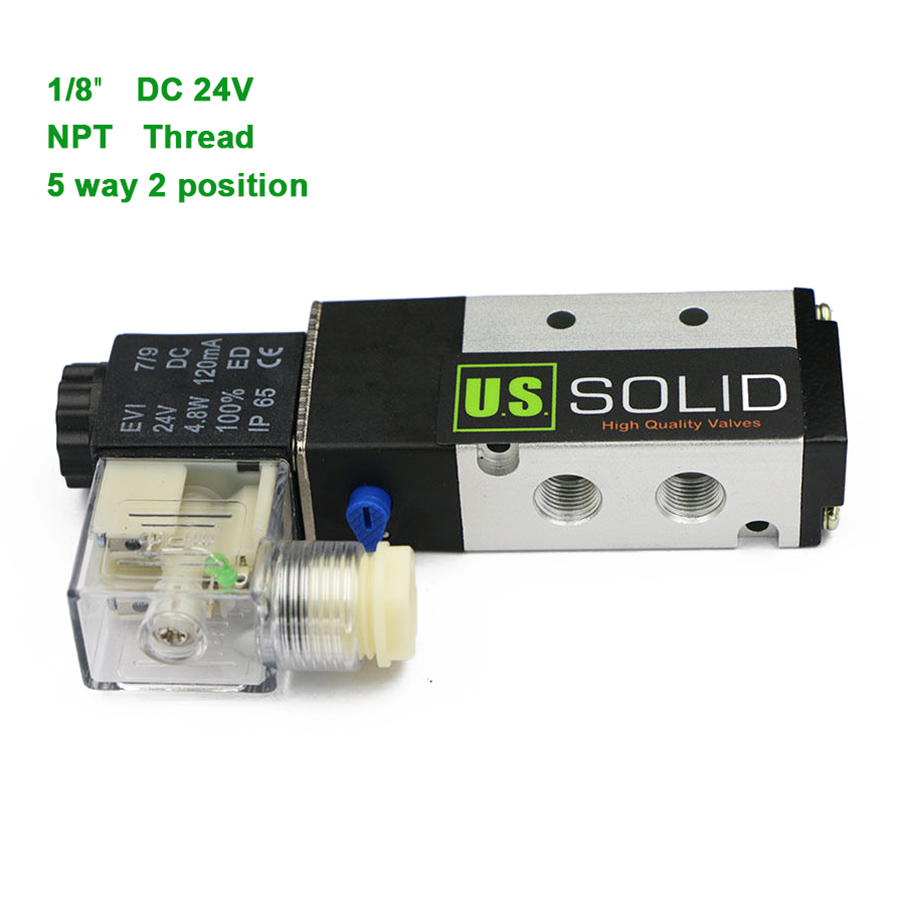 U.S.Solid 1/8 5 Way 2 Position Pneumatic Electric Solenoid Valve DC 24 V NPT Thread Aluminum Alloy ISO Certificated 1 4 dc 12v 3 way 2 position pneumatic electric solenoid valve bsp air aluminum