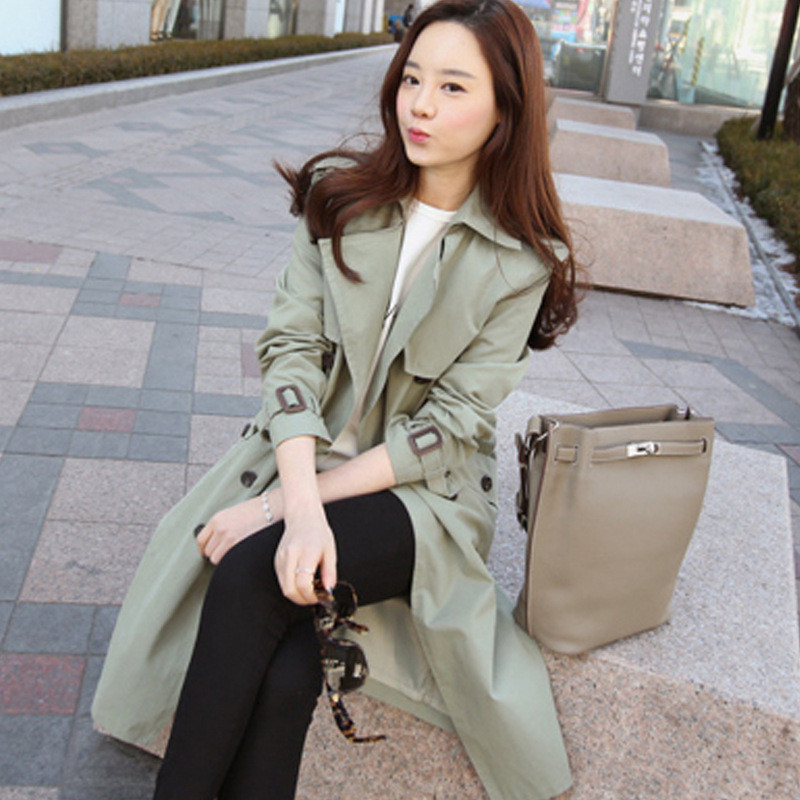 Long   Trench   Coat for Women 2019 Casual Slim Double Breasted Spring/Autumn Coat Women's Overcoat with Pocket N644
