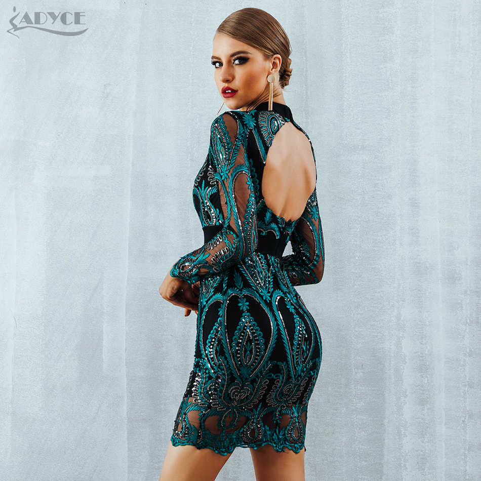 7d32d52ba7 ... ADYCE Celebrity Party Sequin Dress Women 2018 New Long Sleeve Backless  Sexy Mesh Hollow Out Mini ...