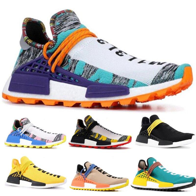 Chaussures de course de Race humaine pour hommes femmes Pharrell Williams blanc rouge échantillon jaune Core noir baskets de sport baskets 40-45