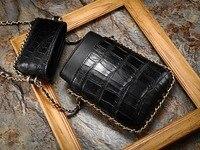 100% натуральная аллигатора кожи живота леди телефон сцепления для женщин из крокодиловой кожи Crossbody сумка на плечо с цепью ремень женский ми