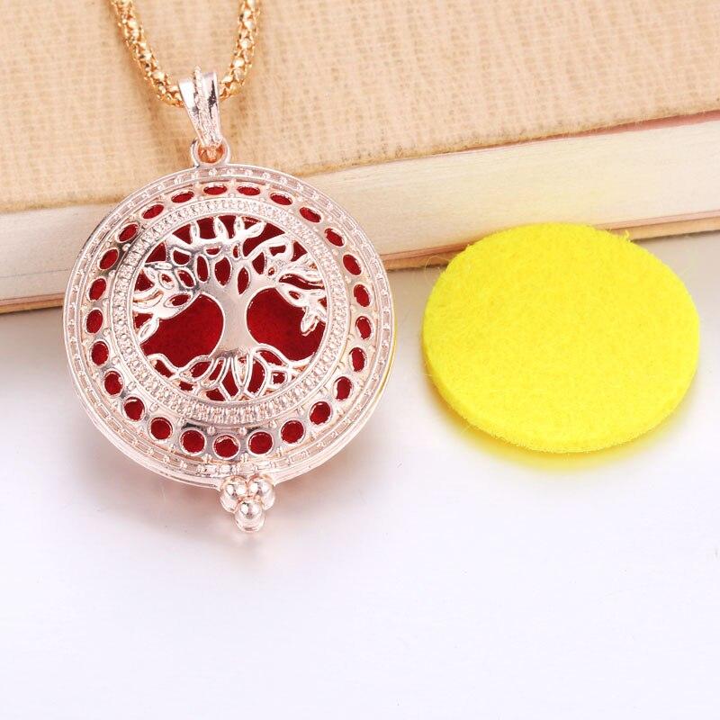 Leben von Baum Aroma Diffusor Halskette Rose Gold Medaillons Anhänger Parfüm Ätherisches Öl Aromatherapie Medaillon Halskette Mit Pads 2995