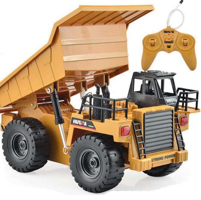 Huina 1540 camión RC 2,4g 6 canales de Control remoto 540 Metal Dump Truck 4 rueda realista juguetes máquina