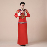 Traditional Chinese Wedding Gowns Dragon Phoenix Clothing Groom Cheongsam Long Qipao Embroidery Red Satin Tops For Men Plus Size