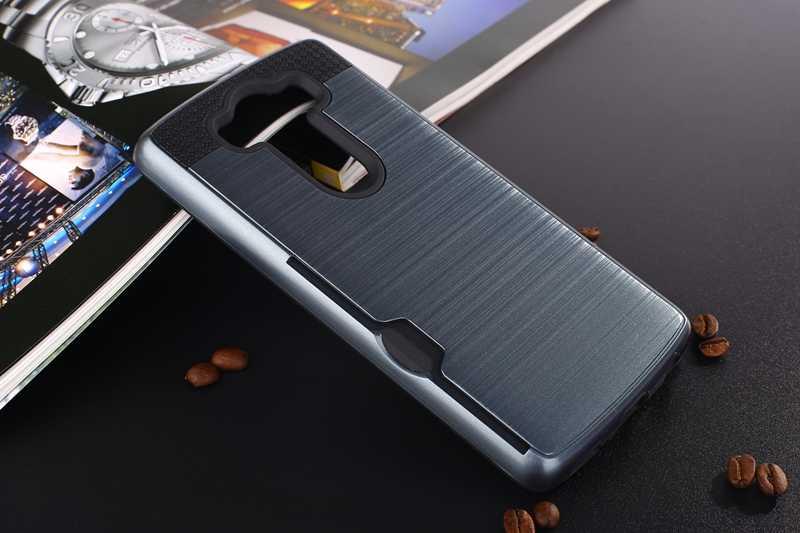 درع حامل بطاقة الهاتف حقيبة لجهاز LG G5 G6 V20 V30 V40 مضاد للخبط نحى صعبة PC + TPU الصلب الغطاء الخلفي حالات